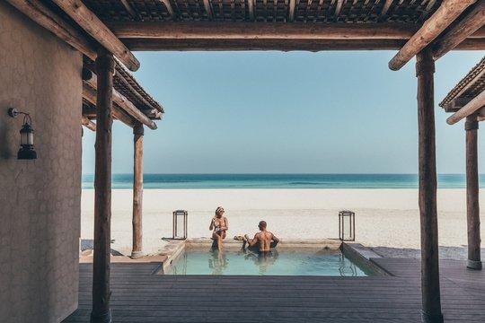 Romantic couple in a beach villa on Sir Bani Yas island