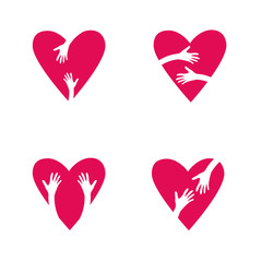 Set of Red hearts and hands. Love, Hope, Care Logo, Vector Illustration