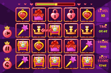 Princess girlish interface Match3 Games and buttons, game assets icons
