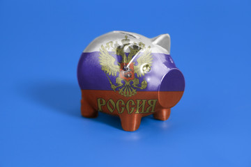 Piggy bank with Flag of the Russian Federation