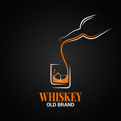 whiskey glass and bottle logo on black background