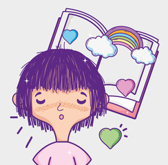 Cute girl reading a book cartoon