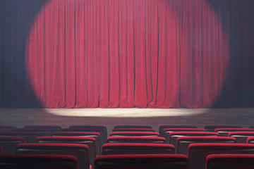 Theater stage with red velvet curtains, volume light and smoke. 3d illustration
