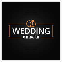 wedding rings logo on black background