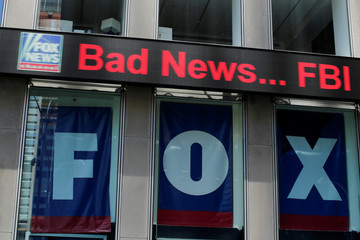 The Fox News electronic ticker is seen at the News Corporation building in the Manhattan borough of New York City, New York