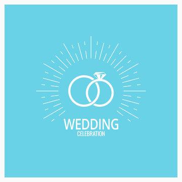 wedding rings vintage design on blue background