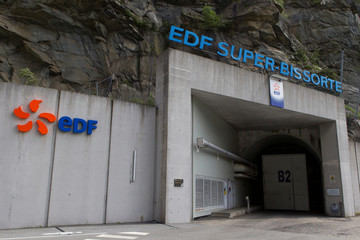 A general view shows entrance of the underground EDF Super Bissorte pumped-storage hydroelectric power station in Orelle
