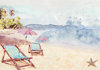 On the beach. Watercolor background