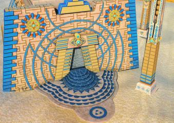 Entrance of an fantasy Egyptian temple in a desert.