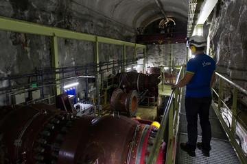 A general view shows the valve room of the EDF Super Bissorte pumped-storage hydroelectric power station in Orelle