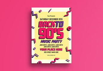 90s Style Music Party Flyer Layout