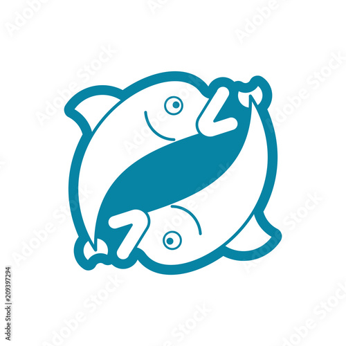 Pisces Sign Of Zodiac Symbol Isolated Vector Illustration Stock