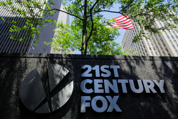 The 21st Century Fox logo is displayed outside the News Corporation building in the Manhattan borough of New York City, New York