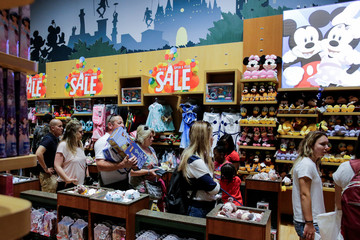 People visit Disney store at Times Square in the Manhattan borough of New York City, New York