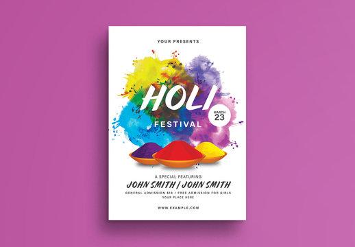 Holi Festival Flyer Layout
