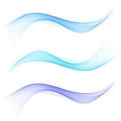 Abstract blue color wave design element. Set Blue wave