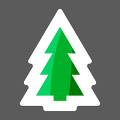 Vector image of Christmas tree, fir-tree. Vector icon  colored sticker. Layers grouped for easy editing illustration.  For your design.