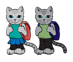 Two Grey Kittens with back packs going to school.