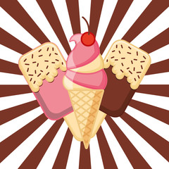 strawberry cone ice creams in stick classic background vector illustration
