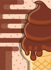 delicious chocolate cone wafer tasty melted flavor vector illustration