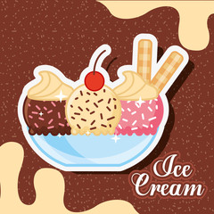 ice scream bowl glass with ice cream different flavors and sparks melted chocolate vector illustration