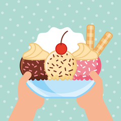 ices scream cup of different flavors with cream sticks vector illustration