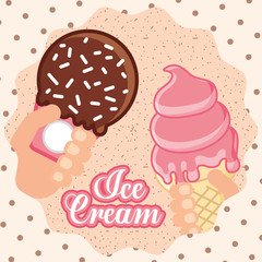 ices scream hand holding popsicle cone melted strabrry spark chocolate vector illustration