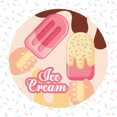 ices scream melted chocolate background hands holding popsicle strawberry sparks vector illustration