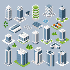 Set of 3D isometric projection of three-dimensional houses, buildings