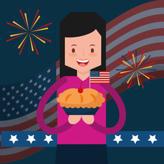 woman holding sweet pie flag fireworks american independence day vector illustration