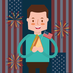 man with sandwich and flag fireworks american independence day vector illustration