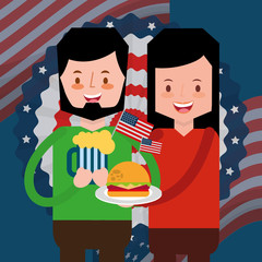 couple with beer and burger flag american independence day vector illustration