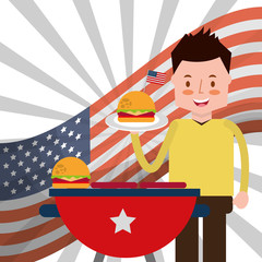 man roasted burger and flag american independence day vector illustration