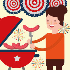 woman roasting sausage and fireworks american independence day vector illustration