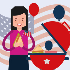 woman eating grilled sandwich with flag american independence day vector illustration