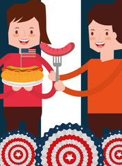 women with sausage and hotdog food in american independence day vector illustration