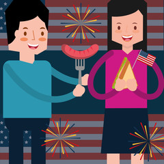 couple with sausage and sandwich fireworks and flag american independence day vector illustration