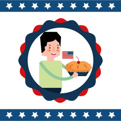 man with pie cake flag american independence label decoration vector illustration