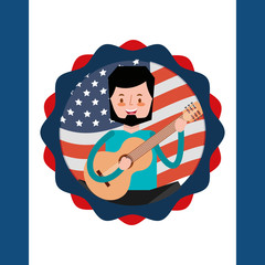 man playing guitar american independence label decoration vector illustration