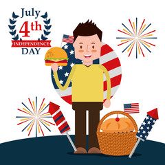 celebrate man with burger rockets firework cake flag american independence day vector illustration