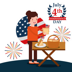 woman with food in picnic celebrating american independence day vector illustration