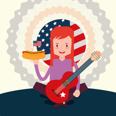 woman holds hot dog and guitar in american independence day vector illustration