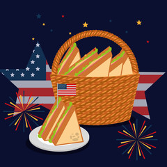 food american independence day stars usa flag background fireworks basket with sandwiches vector illustration