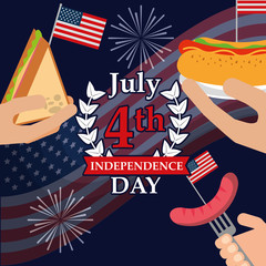 food american independence day hands holding hotdog sandwich fork sausage fireworks celebrate vector illustration