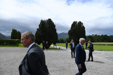 Irish police secure the grounds of Muckross House prior to a visit of Prince Charles in the County Kerry town of Killarney