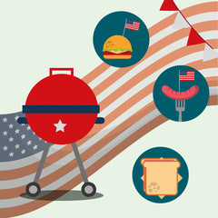 food american independence day grill stickers hamburger sausage sandwich wave usa flag vector illustration