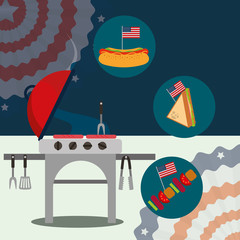 food american independence day colorful pennants usa flag background grill hotdog kebab sandwich vector illustration