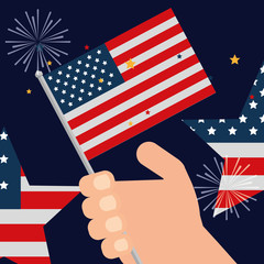 food american independence day stars hand holding usa flag fireworks celebrate vector illustration