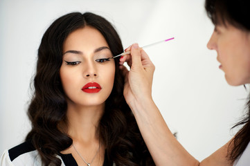 Make up artist applying professional make up