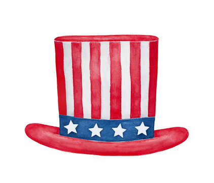 Uncle Sam Hat illustration. One single object. Handdrawn watercolour paint on white background, cut out clip art element for design and decoration. 4th of July, Labor Day, Halloween holiday accessory.